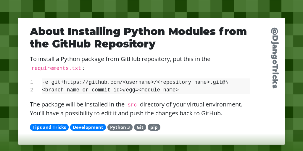 About Installing Python Modules from the GitHub Repository